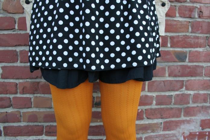 Vintage Jacket, Polka Dot Dress, Mustard Tights, Winchell Boots
