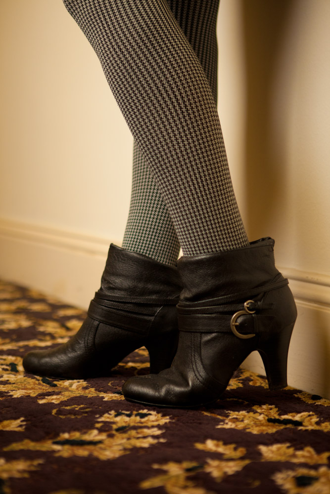 Houndstooth Tights and Buckled Booties