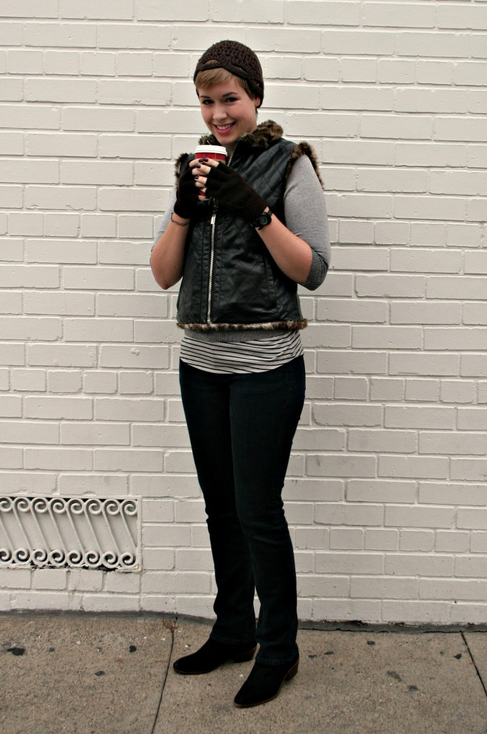 "Faux leather vest, skinny black jeans, and Sam Edelman ""Petty"" booties"