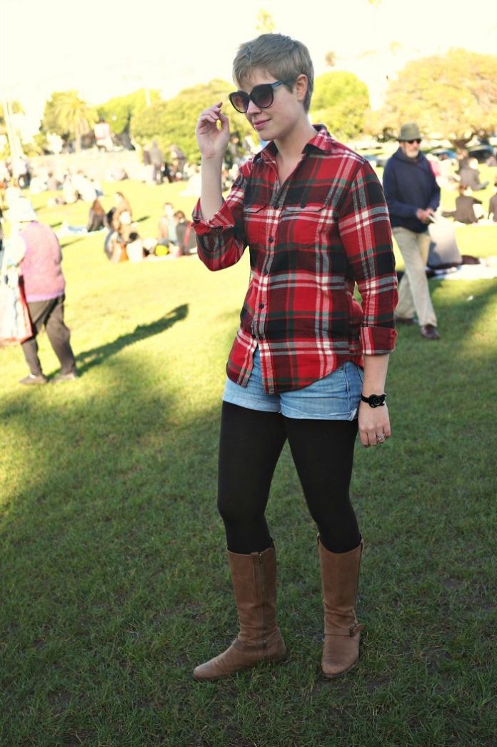 Dolores Park, Mission District, flannel shirt with jean shorts, women's flannel shirt, Marc Jacobs guitar watch