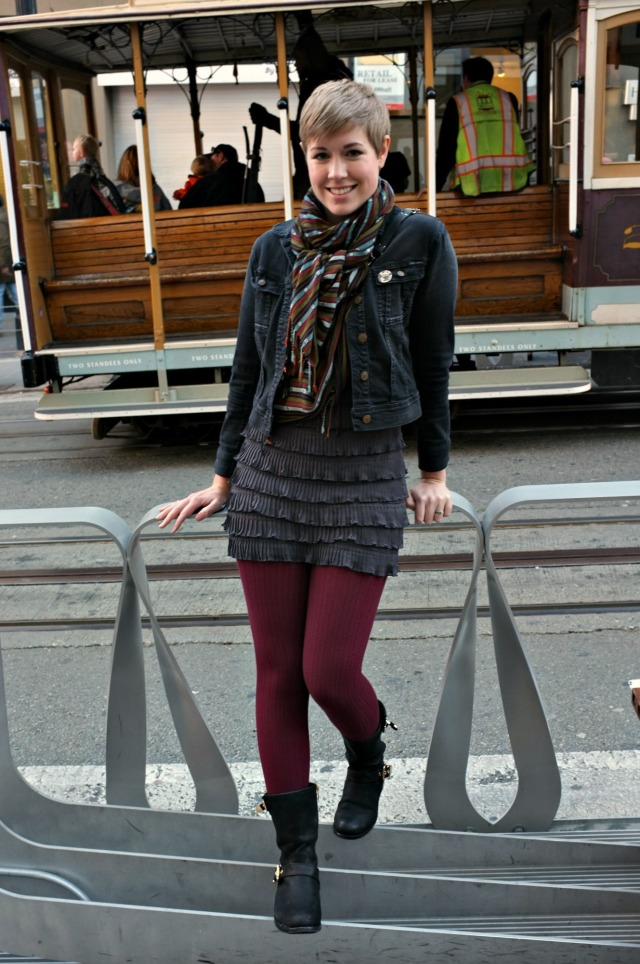 Powell Street, H&M ruffle dress, H&M tights, tights with boots, dress with tights, maroon tights