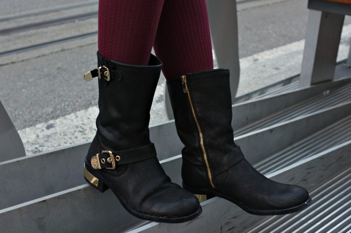 Powell Street, Vince Camuto, Vince Camuto Winchell, Winchell with tights, H&M tights, tights with boots, maroon tights