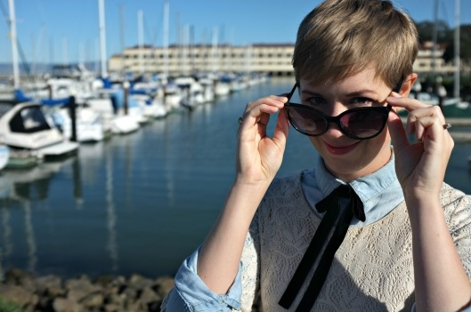 H&M crochet tunic, chambray shirt, Fort Mason, women's necktie, women's neck tie