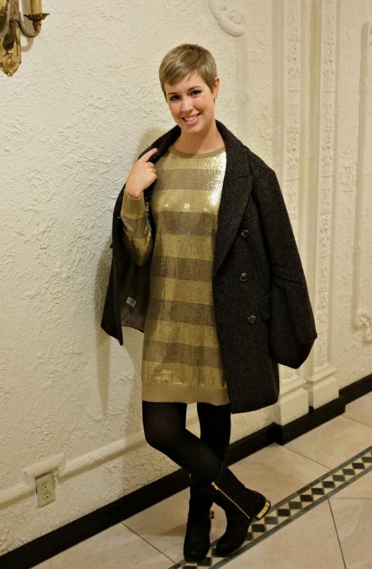 Michael Kors sequin dress, Michael Michael Kors, Vince Camuto Winchell, Pizzeria Delfina