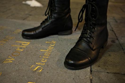 Jack Kerouac alley, polka dot dress, leather leggings, leather leggings style, Steve Madden Kombat