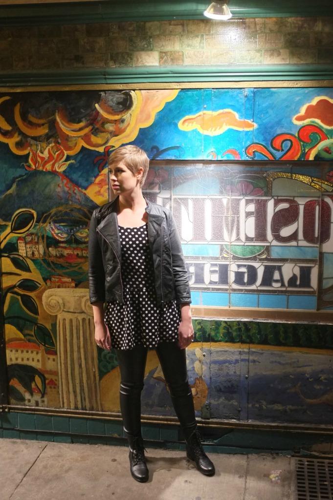 Jack Kerouac alley, polka dot dress, leather leggings, leather leggings style, H&M pleather leggings, Steve Madden Kombat