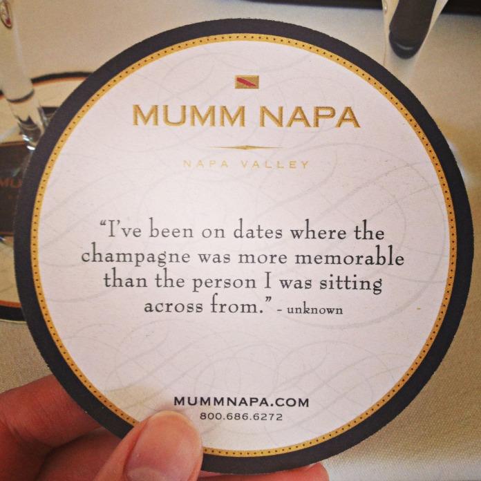 Mumm Napa, Mumm coaster, champagne quote