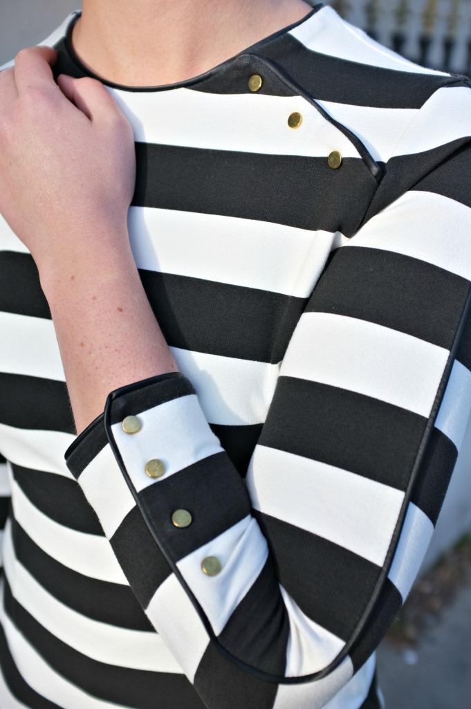 Zara striped dress, Zara military dress, horizontal stripe dress, black and white style