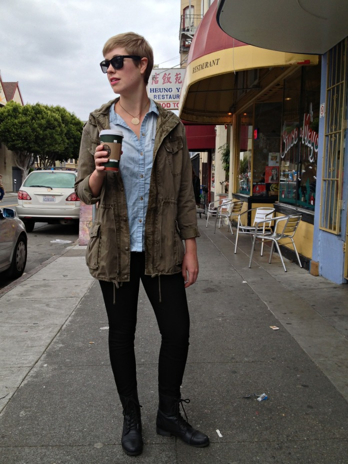 Aritzia jacket, Urban Outfitter chambray, Mission San Francisco