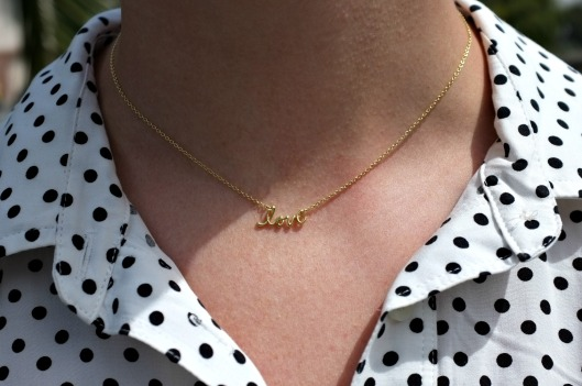 Gap polka dot dress, love necklace, Modalu Pippa, Modalu Pippa shark, Pippa shark