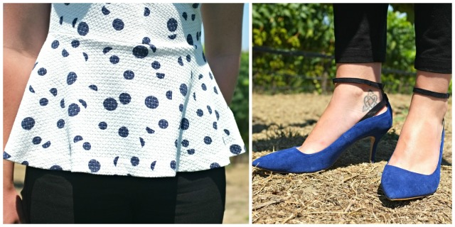 Anthropologie peplum top, Zara blue pumps